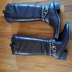 Dark Brown Faux Tall Boots with Studs